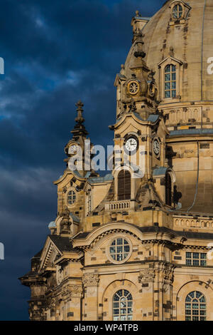 Dresden old town, church of the lady - Stock Photo