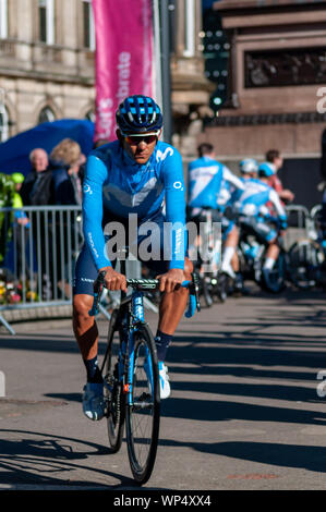 Glasgow, Scotland, UK. 7th September, 2019. Stage one of the OVO Energy Cycling Tour of Britain which is Britain's biggest professional cycle race and the longest stage of this year's race covering 125 miles from Glasgow to Kirkcudbright. Credit: Skully/Alamy Live News - Stock Photo