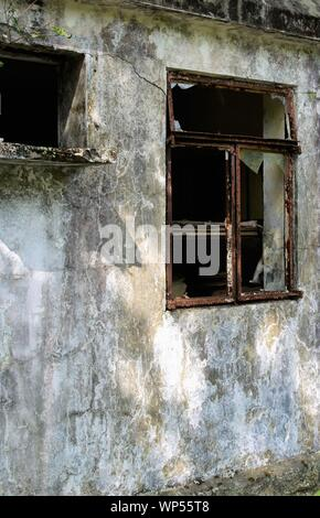 The wall of an old abandoned building - Suitable for book cover. - Stock Photo