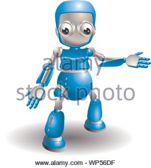 Cute robot pointing out something - Stock Photo