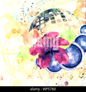 Abstract retro grunge tropical party poster with hibiscus and disco ball. - Stock Photo