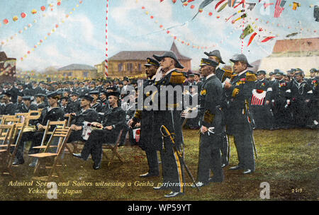 [ 1900s Japan - US Admiral Sperry in Japan ] —   Admiral Sperry and sailors from his crew watch a geisha performance at Yokohama, Kanagawa Prefecture during the visit of the American Great White Fleet in October 1908.   Between December 16, 1907 and February 22, 1909, the fleet called on 20 ports on six continents. As the ships' hulls were painted white, it was popularly known as the Great White Fleet. The fleet's mission was to project American military power, especially towards Japan.  20th century vintage postcard. - Stock Photo