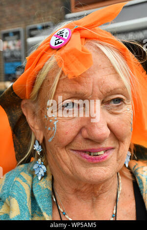 London, UK. 7th Sept, 2019. Extinction Rebellion a recycling fashion show ahead of LFW 2019 with all hand made recycling material and old clothing outside Wood Green library to boycott #LFW2019 branded fashion on 7 September 2019, London, UK. - Stock Photo
