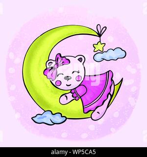 Vector illustration of an animal girl bear sleeping on a crescent moon in the sky among the clouds in pink colors - Stock Photo