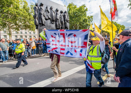 London, UK. 7th September, 2019. Pro Brexit Yellow vests come to disrupt a pro EU protest in Whitehall. . Credit: Guy Bell/Alamy Live News - Stock Photo