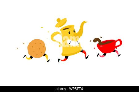 Running coffee pot with a cup of coffee and cookies. Vector. Funny characters for a coffee shop. Logo for the teahouse. Tea and coffee shop. - Stock Photo