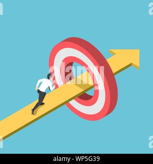 Flat 3d isometric businessman running on the arrow piercing through target. Business goal and success target concept. - Stock Photo