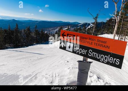 Ski trail sign on Spruce Peak, Stowe, Vermont, USA - Stock Photo