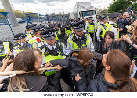 ExCel, Docklands, London, UK. 7th Sep, 2019. The Defence & Security Equipment International trade show is due to open its doors to visitors on 10th September but peace protesters are attempting to prevent the event being ready by blocking the approach roads. Touted as the world's leading event for governments and armed forces, protesters feel that weapons and equipment purchased will be used against civilian populations. A US Chinook transport and Apache gunship helicopters landed. Credit: Avpics/Alamy Live News - Stock Photo