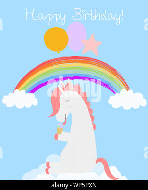 Cute Unicorn with balloons eating ice cream sitting on white cloud in blue rainbow sky. Happy birthday greeting card. Funny horse animal baby shower d - Stock Photo