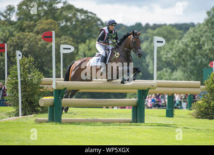 Stamford, UK, Saturday 7th September, 2019. Piggy French (GBR) riding Vanir Kamira during the Land Rover Burghley Horse Trials,  Cross Country phase. © Julie Priestley/Alamy Live News - Stock Photo
