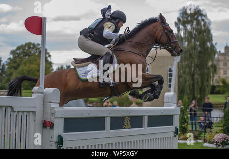 Stamford, UK, Saturday 7th September, 2019. Pippa Funnell (GBR) riding MGH Grafton Street during the Land Rover Burghley Horse Trials,  Cross Country phase. © Julie Priestley/Alamy Live News - Stock Photo