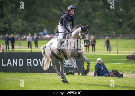 Stamford, UK, Saturday 7th September, 2019. Oliver Townend (GBR) riding Ballaghmor Class during the Land Rover Burghley Horse Trials,  Cross Country phase. © Julie Priestley/Alamy Live News - Stock Photo