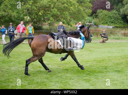 Stamford, UK, Saturday 7th September, 2019. Izzy Taylor (GBR) riding Springpower taking a tumble during the Land Rover Burghley Horse Trials,  Cross Country phase. © Julie Priestley/Alamy Live News - Stock Photo