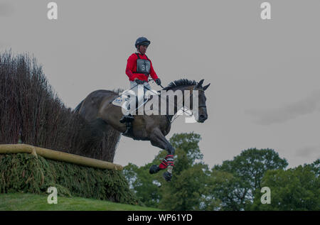 Stamford, UK, Saturday 7th September, 2019. David Doel riding Shannondale Quest during the Land Rover Burghley Horse Trials,  Cross Country phase. © Julie Priestley/Alamy Live News - Stock Photo