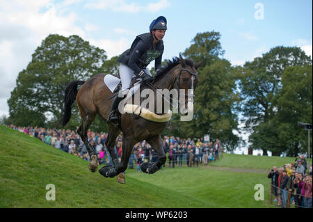 Stamford, UK, Saturday 7th September, 2019. Samantha Lissington (NZL) riding Ricker Ridge Rui during the Land Rover Burghley Horse Trials,  Cross Country phase. © Julie Priestley/Alamy Live News - Stock Photo