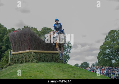 Stamford, UK, Saturday 7th September, 2019. Sebastien Cavaillon riding Sarah D'argouges during the Land Rover Burghley Horse Trials,  Cross Country phase. © Julie Priestley/Alamy Live News - Stock Photo
