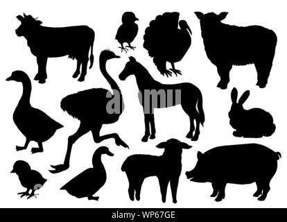 Farm animals livestock vector black silhouettes isolated on white. Cow, sheep, pig, horse, ostrich, duck, rabbit, goose, turkey bird and lamb, handdrawn icons or symbols - Stock Photo