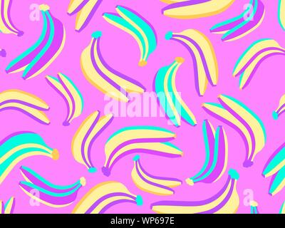 Bananas seamless pattern in the zine culture style with pop art elements. Exotic background. Vector illustration - Stock Photo