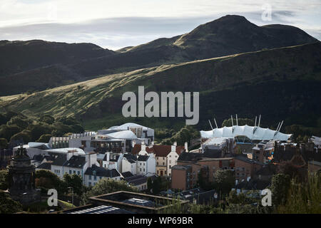 Edinburgh    September  07 2019; A view of the Scottish Parliament seen from Calton Hill.   credit steven scott taylor / alamy live news - Stock Photo
