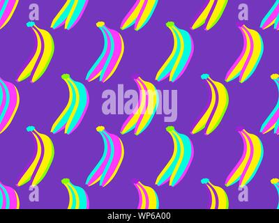 Seamless pattern with bananas in the zine culture style with pop art elements. Exotic background. Vector illustration - Stock Photo