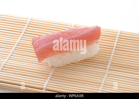Sushi of Tuna closeup isolated on white background - Stock Photo