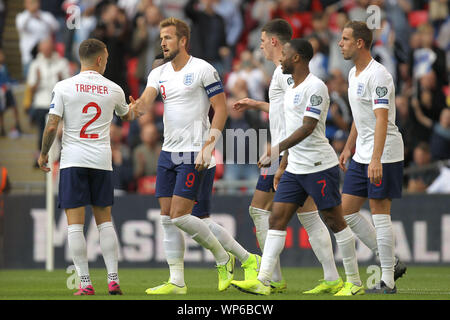 London, UK. 07th Sep, 2019. England celebrate after Harry Kane (2nd L) scored their second goal during the UEFA Euro 2020 Qualifying Group A match between England and Bulgaria at Wembley Stadium on September 7th 2019 in London, England. (Photo by Matt Bradshaw/phcimages.com) Credit: PHC Images/Alamy Live News - Stock Photo