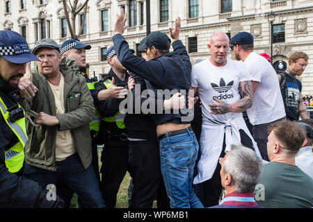 London UK 7th September 2019 Pro-Brexit demonstrators outside the Houses of Parliament. - Stock Photo