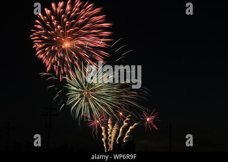 Firework's in the sky at night - Stock Photo