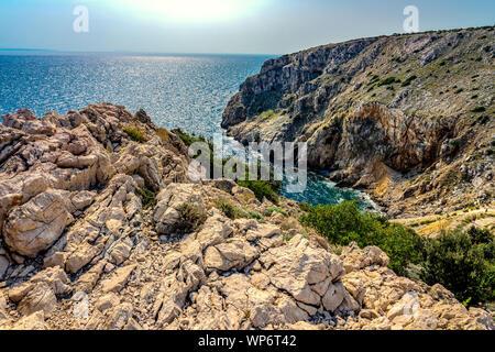 rocky scenic mali bok orlec beach on cres island croatia