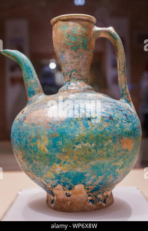 Glazed pottery pitcher, 9th century, Anthropology Museum, Ardabil, Ardabil Province, Iran - Stock Photo