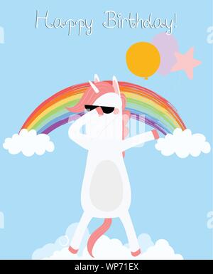 Dabbing Unicorn happy birthday greeting card. Dab horse in glasses with balloons disco dancing on cloud rainbow. Cute animal baby shower design Party - Stock Photo
