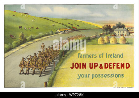 During World War I, (1914–1918) the impact of the poster as a means of communication was greater than at any other time during history, asking men to do their duty and join the military forces.  At the outbreak of war, most Irish people, regardless of political affiliation, supported the war in much the same way as their British counterparts,and both nationalist and unionist leaders initially backed the British war effort. The posters had a remarkable ability to inspire, inform, and persuade would be volunteers. - Stock Photo