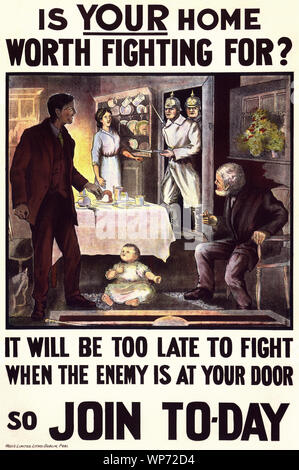 During World War I, (1914–1918) the impact of the poster as a means of communication was greater than at any other time during history, asking men to do their duty and join the military forces.  The perceived threat from Germany at the outbreak of war, meant most Irish people, regardless of political affiliation, supported the war in much the same way as their British counterparts, with  both nationalist and unionist leaders initially backing the British war effort. - Stock Photo
