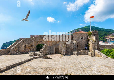 Ancient Citadel in Old Town of Budva inside, Montenegro - Stock Photo