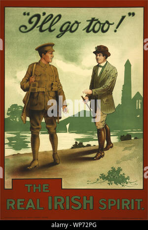 During World War I, (1914–1918) the impact of the poster as a means of communication was greater than at any other time during history, asking men to do their duty and join the military forces.  The recruitment camapign used serving soldiers to encourage men to join the British Army at the Westrn Front in Flanders. At the outbreak of war, most Irish people, regardless of political affiliation, supported the war in much the same way as their British counterparts, and both nationalist and unionist leaders initially backed the British war effort. - Stock Photo