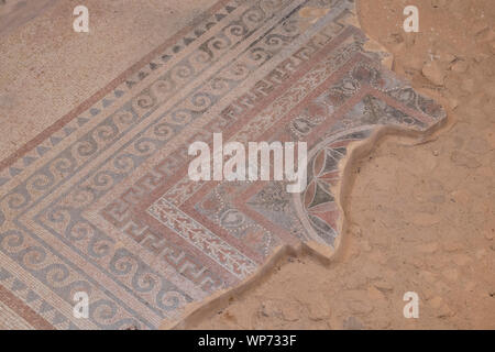 Israel, historic Masada aka Massada. The Western Palace, built during Herod's reign, is the largest structure at Masada. Detail of mosaic floors. - Stock Photo