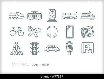 Set of 15 commute line icons for daily transportation to work - Stock Photo