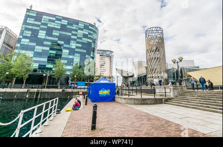 A view of the area around the Lowry at Salford Quays, Salford, Manchester, UK. Taken on 7th September 2019. - Stock Photo
