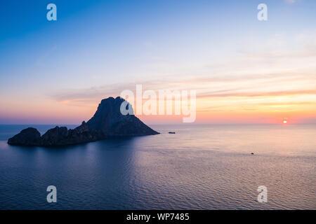 Sunset on mediterranean sea at Ibiza with Es vedrà Island