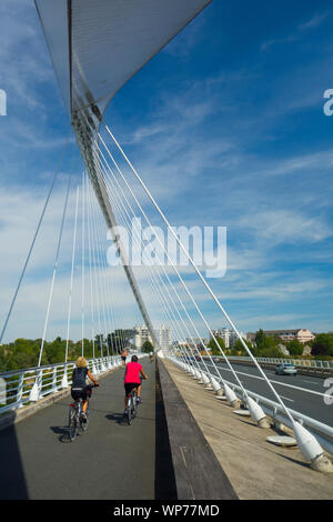 France, Loiret (45), Orleans, Europe's bridge, built in 2000, it's the 5th bridge of the town to cross Loire river - Stock Photo