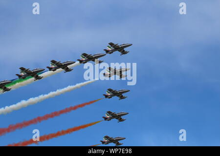 Ferrara, Italy - September 07 2019: Frecce Tricolori (Tricolour Arrows)Italian acrobatic aircraft team during exhibition over Ferrara, Italy. Airshow - Stock Photo