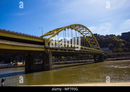 Fort Pitt Bridge, Pittsburgh, Pennsylvania - Stock Photo
