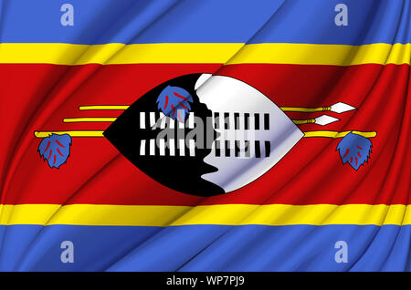Swaziland waving flag illustration. Countries of Africa. Perfect for background and texture usage. - Stock Photo