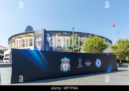 Press shooting board for Chelsea and Liverpool Football Clubs, Uefa Super Cup Final 2019 contestants, in front of the BJK Vodafone Park Stadium. - Stock Photo