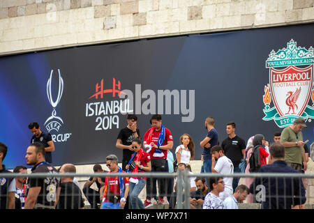 UEFA Super Cup 2019 Game Day, Liverpool and Chelsea Football Clubs Supporters waiting for the game around the stadium. - Stock Photo