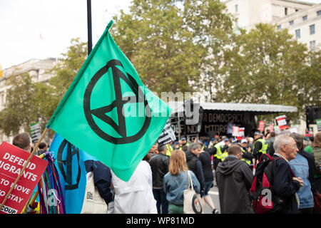 London, UK. 7th September 2019. Some members of the climate organisation Extinction Rebellion taking part at the anti-Brexit rally opposite 10 Downing Street, London. Credit: Joe Kuis / Alamy News - Stock Photo