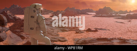 astronaut on planet Mars watching the rising Sun (3d science illustration banner) - Stock Photo