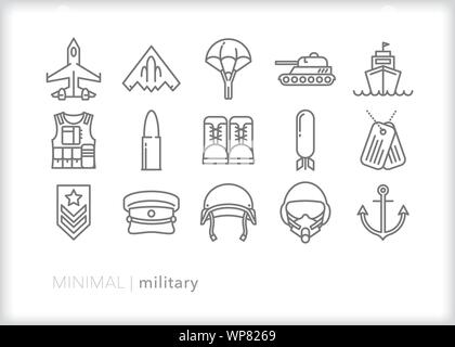 Set of 15 American military line icons for the armed services - Stock Photo