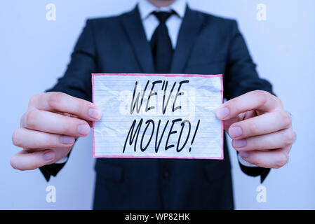 Text sign showing We Ve Moved. Business photo showcasing To go from one residence or location to another Relocate - Stock Photo